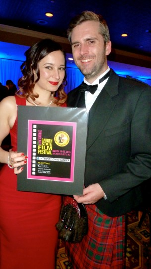 Director Mariana and Creative Exec Stu hold the Best International Music Video award for C.T.R.L